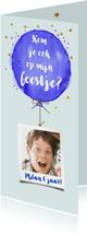 Hippe uitnodiging kinderfeest met ballon in waterverf