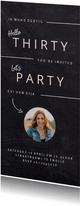 Hippe uitnodiging krijtbord look verjaardagsfeest vrouw