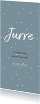 Jeansblauw geboortekaartje met witte stipjes
