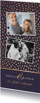 Jubiläumskarte mit Muster & 2 Fotos Silberhochzeit