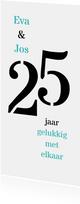 Jubileum 25 jaar getrouwd typografisch