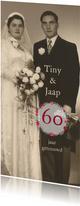 Jubileum 60 jaar getrouwd met bloemencirkel