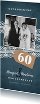 Jubileum uitnodiging vintage met kant, label en foto