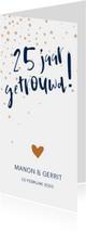Jubileumkaart '25 jaar getrouwd!' met confetti