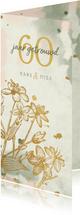 Jubileumkaart bloemen goud met waterverf en spetters