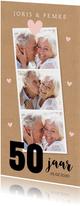 Jubileumkaart fotocollage kraftprint hartjes roze