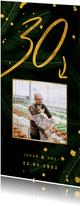 Jubileumkaarten - Jubileumkaart jungle bladeren met gouden '35' en foto