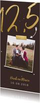Jubileumkaart langwerpig met gouden 12,5 en foto