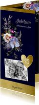 Jubileumkaart oude meesters bloemen goud jaar aanpasbaar