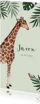 Jungle geboortekaartje met giraf en groene achtergrond