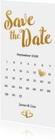 Kalender Save the Date goud langwerpig - BK