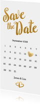 Kalender Save the Date goud langwerpig - BK
