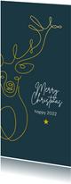 Kerst - Lijntekening rendier met goud