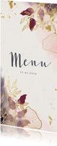 Kerst menu stijlvol met waterverf en gouden bloemen