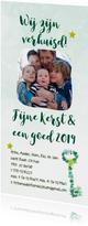 Kerst-verhuiskaart sleutel takjes foto eigen tekst