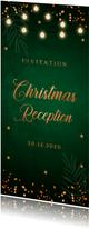 Kerstborrel uitnodiging donkergroen koper