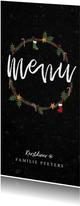 Kerstdiner menukaart stijlvol met kerstillustraties