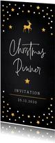 Kerstdiner uitnodiging zwart confetti goudlook