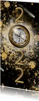 Kerstkaart 2022 klok goud