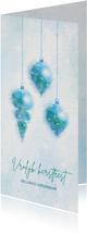 Kerstkaart blauw-groen aquarel met 3 kerstballen