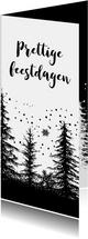 Kerstkaart bomen zwart-wit