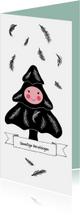 Kerstkaart boompje zwart wit met gezichtje