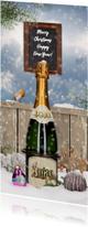 Zakelijke kerstkaarten - Kerstkaart champagnefles in sneeuw