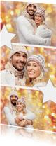 Kerstkaarten - Kerstkaart collage langwerpig fotocollage met sterren 2020