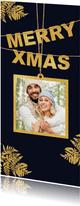 Kerstkaart foto en gouden Xmas