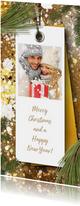 Kerstkaart foto label en kersttakken