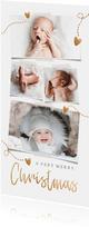 Kerstkaart Foto's en gouden hartjes
