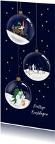 Kerstkaart - glazen kerstballen