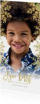 Kerstkaart gouden kerstvlokken lang