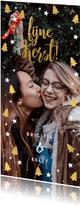 Kerstkaart grote foto, kerstbomen, sterren en 'fijne Kerst!'