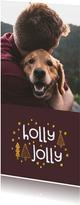 Kerstkaart holly jolly goudlook met foto