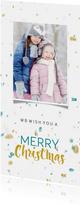Kerstkaart in trendy kleuren met sneeuw en toffe foto isf