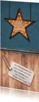Kerstkaart industrieel stoer jeansblauw met hout en ster