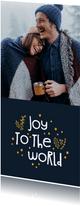 Kerstkaart joy to the world goudlook met foto