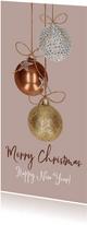 Kerstkaart kerstballen koper goud en zilver