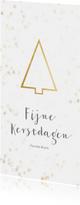 Kerstkaart kerstboom langwerpig goud - BK