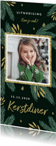 Kerstkaart kerstdiner uitnodiging winter foto takjes goud