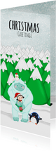 Kerstkaart kerstmis Yeti en kerst elfje