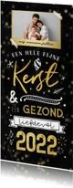 Kerstkaart krijtbord goud typografie winter sterren goud