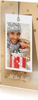 Kerstkaart label sterren en foto