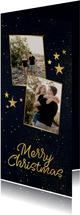 Kerstkaart langwerpig 2 foto's sterren gouden figuren
