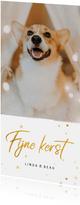 Kerstkaart langwerpig fijne kerst gouden sterren