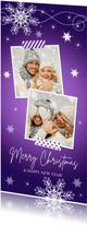 Kerstkaart langwerpig fotocollage paars sneeuwvlokken