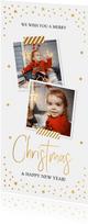 Kerstkaart langwerpig goudlook confetti foto