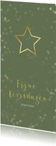 Kerstkaart langwerpig groen met kerstster - Een gouden kerst