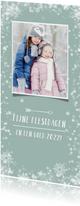 Kerstkaart langwerpig hip met eigen foto en sneeuwsterren